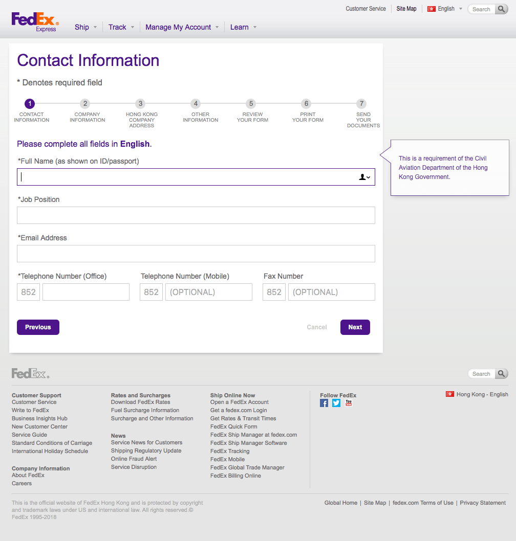 UX Design for FedEx Hong Kong | Jeff Wright